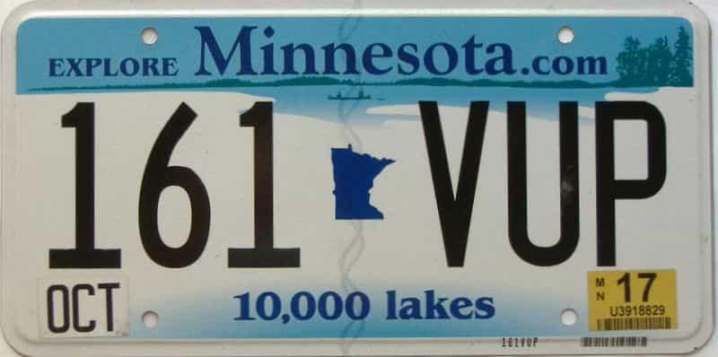 2017 Minnesota  (Single) license plate for sale