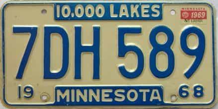 1969 Minnesota  (Single) license plate for sale