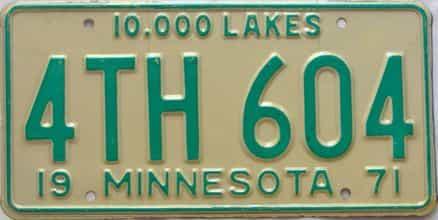 1971 Minnesota  (Single) license plate for sale