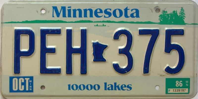 1986 Minnesota  (Single) license plate for sale