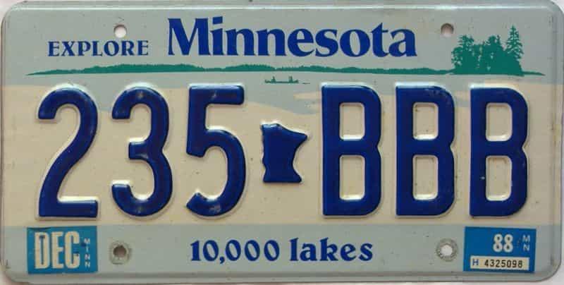 1988 Minnesota  (Single) license plate for sale