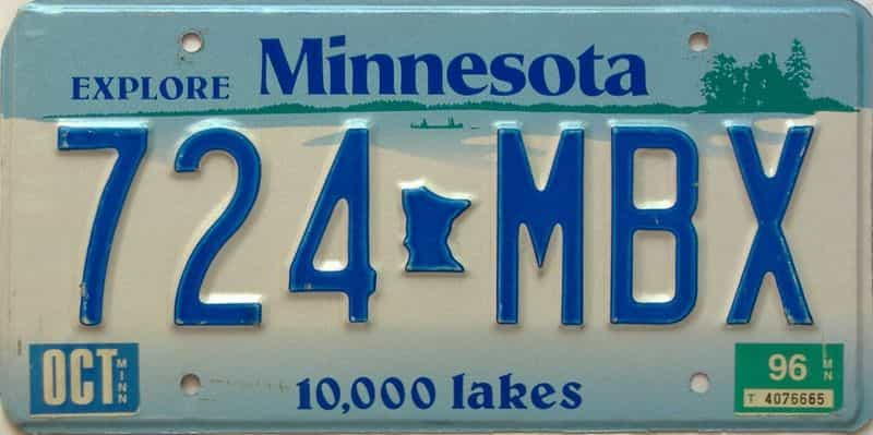 1996 Minnesota  (Single) license plate for sale