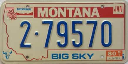 1980 Montana  (Single) license plate for sale