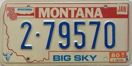 1980 Montana  (Single) license plate for sale