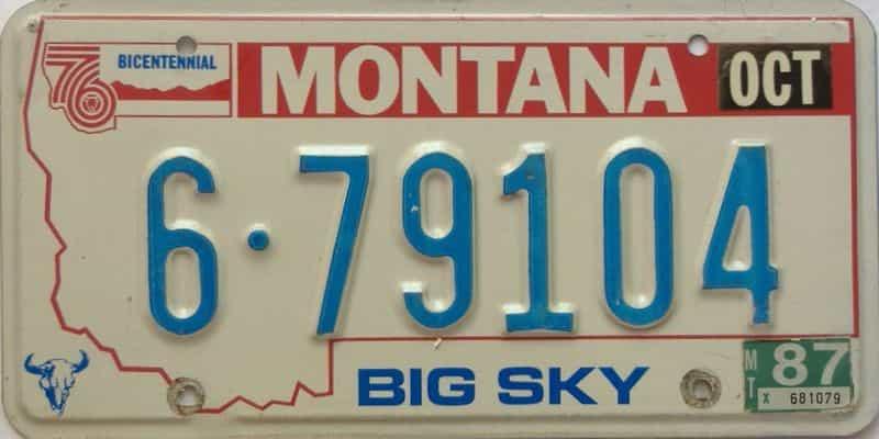 1987 Montana  (Single) license plate for sale