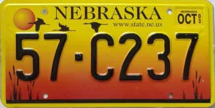 2003 Nebraska  (Single) license plate for sale