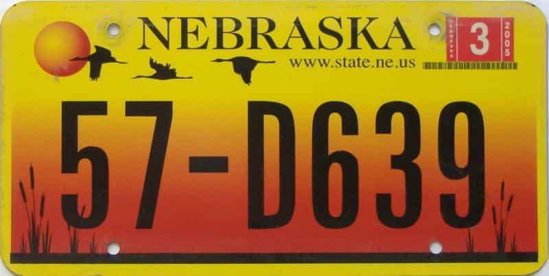 2005 Nebraska  (Single) license plate for sale