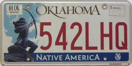 2004 Oklahoma license plate for sale