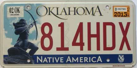 2013 Oklahoma license plate for sale