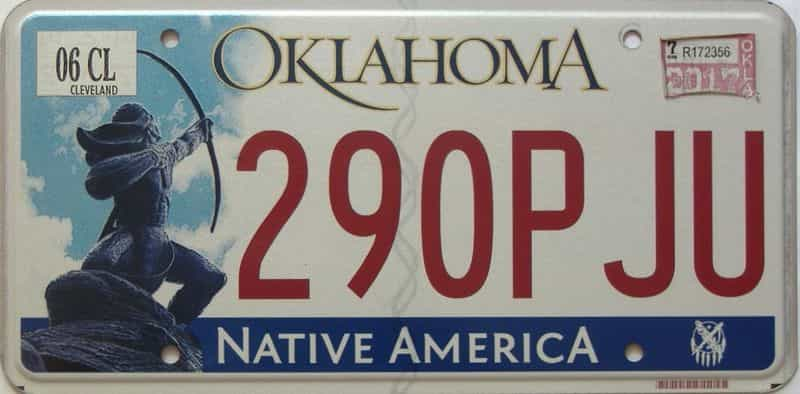 2017 Oklahoma license plate for sale