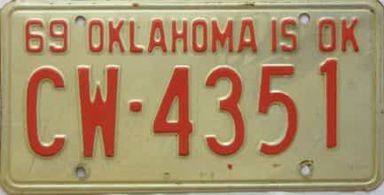 1969 Oklahoma license plate for sale