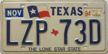 1994 Texas  (Single) license plate for sale