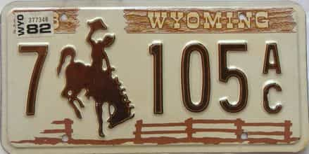 1982 Wyoming  (Single) license plate for sale