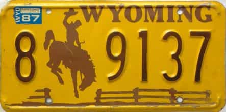 1987 Wyoming  (Single) license plate for sale