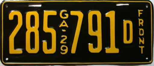 YOM 1929 Georgia  (Single) license plate for sale