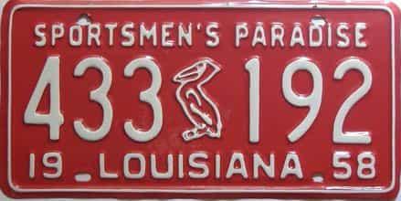 1958 Louisiana  (Older Restoration) license plate for sale