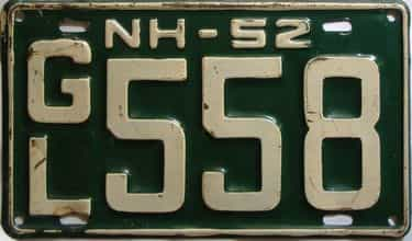 1952 New Hampshire  (Single) license plate for sale