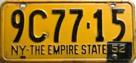 1952 New York  (Single) license plate for sale