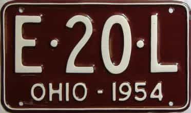 1954 Ohio  (Older Restoration) license plate for sale