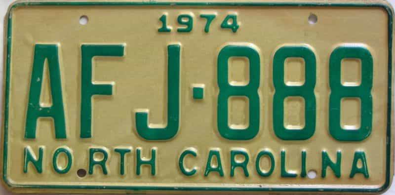 1974 North Carolina license plate for sale