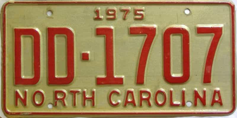 1975 North Carolina  (Truck) license plate for sale
