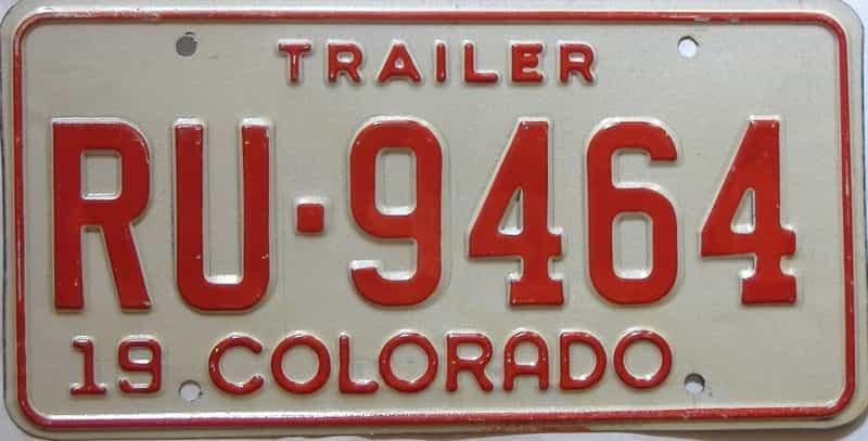 Colorado  (Trailer) license plate for sale