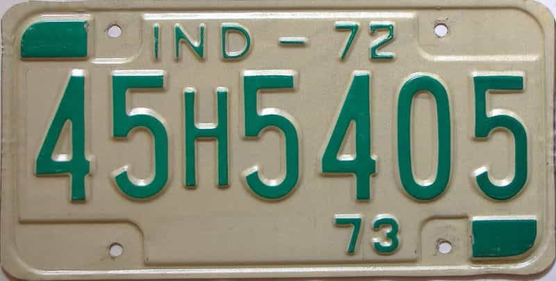 1972 Indiana license plate for sale
