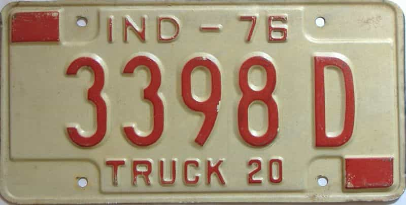 1976 Indiana  (Truck) license plate for sale