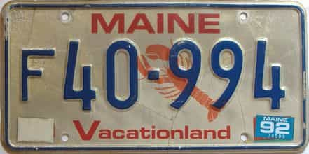 1992 Maine  (Single) license plate for sale