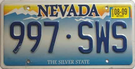 2009 Nevada  (Single) license plate for sale