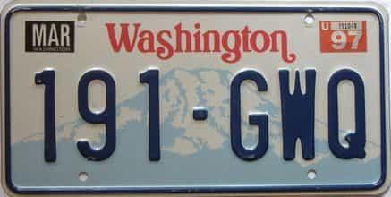 1997 Washington  (Single) license plate for sale