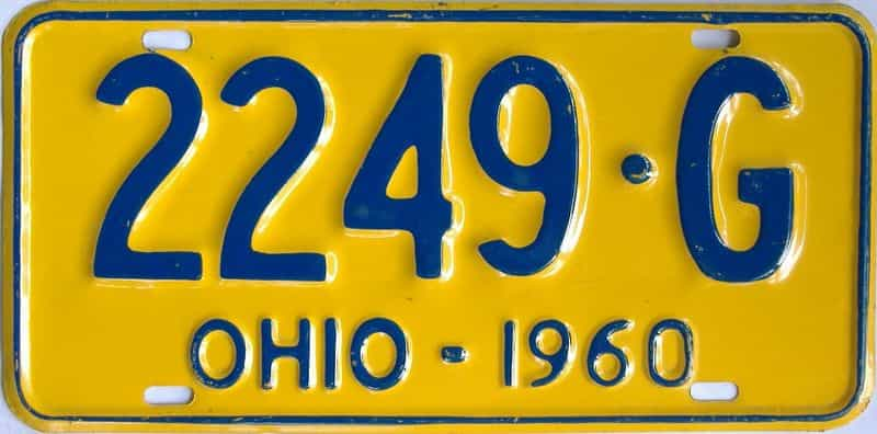 1960 OH (Single) license plate for sale