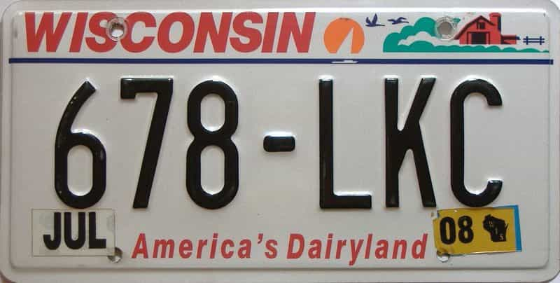 2008 Wisconsin  (Single) license plate for sale