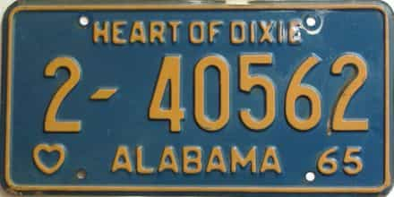 1965 Alabama license plate for sale