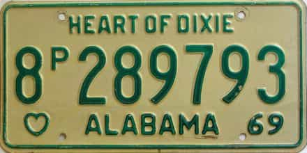 1969 Alabama  (Truck) license plate for sale