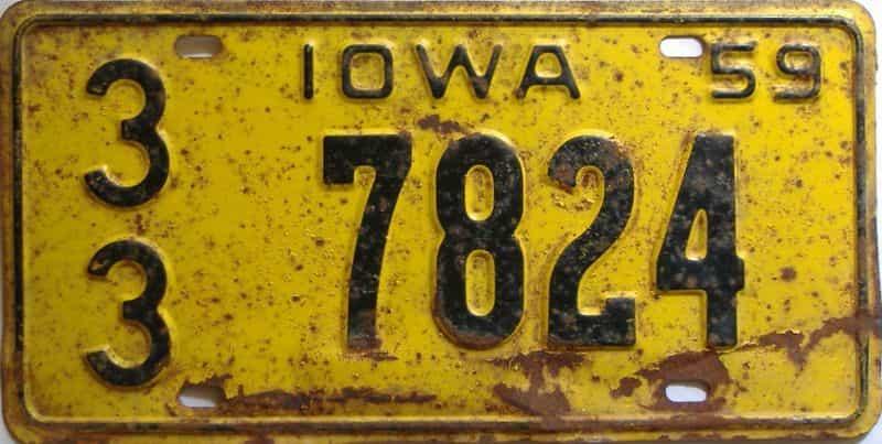 1959 Iowa  (Single) license plate for sale