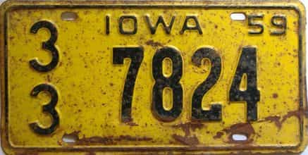 1959 Iowa  (Single) license plate for sale