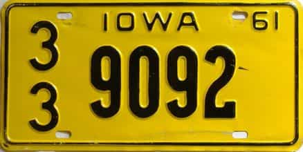 1961 Iowa  (Single) license plate for sale