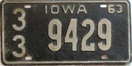 1963 Iowa  (Single) license plate for sale