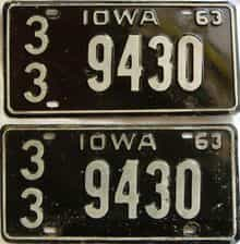 1963 Iowa  (Pair) license plate for sale