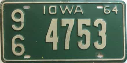 1964 Iowa  (Single) license plate for sale