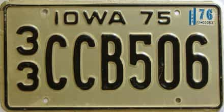 1976 Iowa  (Single) license plate for sale