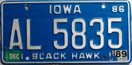 1989 Iowa  (Single) license plate for sale