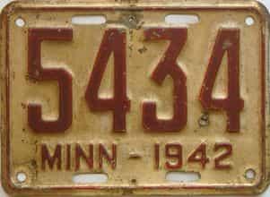 1942 Minnesota license plate for sale