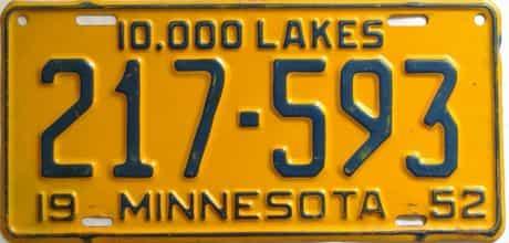 1952 Minnesota  (Single) license plate for sale
