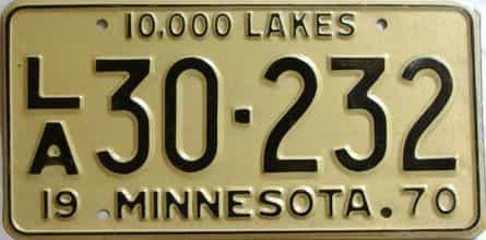 1970 Minnesota  (Non Passenger) license plate for sale