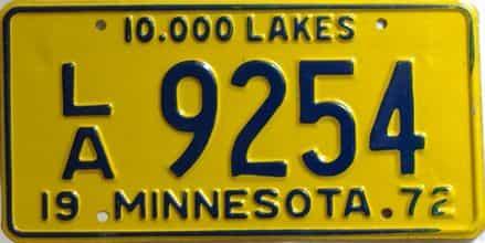 1972 Minnesota  (Non Passenger) license plate for sale