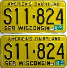 1981 Wisconsin  (Pair) license plate for sale
