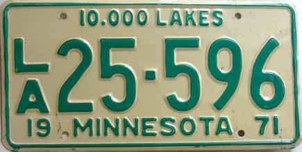 1971 Minnesota  (Non Passenger) license plate for sale