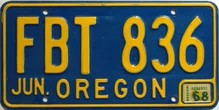 1968 Oregon  (Single) license plate for sale